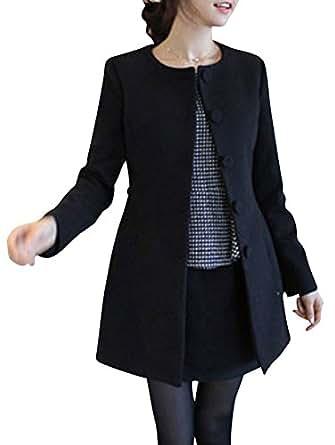 keral damen mantel einreihig lange h lse schmal geschnitten s tweed mantel schwarz xl amazon. Black Bedroom Furniture Sets. Home Design Ideas
