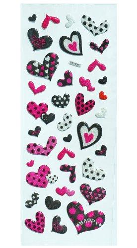 Jazzstick Puffy Dimensional Glitter Pink & Black Fun Valentine Mini Heart Decorative Sticker (VST06A04)