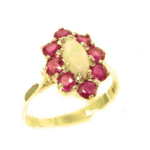 Luxury Ladies Solid British 14K Yellow Gold Natural Opal & Ruby Cluster Ring - Size 9.25 - Finger Sizes 5 to 12 Available - Perfect Gift for Birthday, Christmas, Valentines Day, Mothers Day, Mom, Mother, Grandmother, Daughter, Graduation, Bridesmaid.