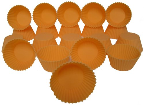 Silicone Cupcake Baking Pan, Cake Cup (2-1/2x1x1½ Inch, Set of 20, Orange) Durable, Flexible, Non-stick, Reusable Liners- For Cupcakes, Muffins, Crafts and Soap Molds- Essential Kitchen Utensil and Bakeware Supplies