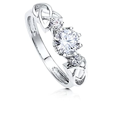 BERRICLE Sterling Silver Round Cubic Zirconia CZ 3 Stone Celtic Knot Promise Engagement Wedding Ring