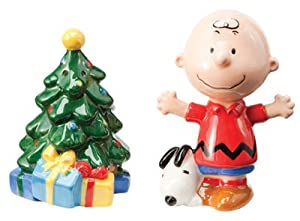 #!Cheap Peanuts Charlie Brown Christmas Tree Salt & Pepper Shaker Set