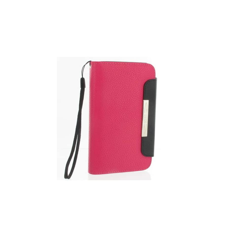 [Total 4 Colors]Magenta PU Leather Flip Case / Cover / Skin / Shell For Samsung Galaxy Note / GT N7000 / i9220 +Free Screen Protector (7173 4)