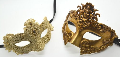 Roman Greek God Goddess Set - His & Hers Lace Masquerade Masks Antique Gold