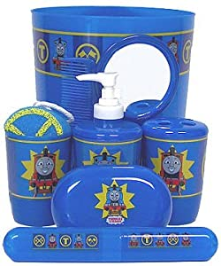 Amazoncom thomas the tank engine trains 9 pcs bathroom for Thomas the train bathroom set