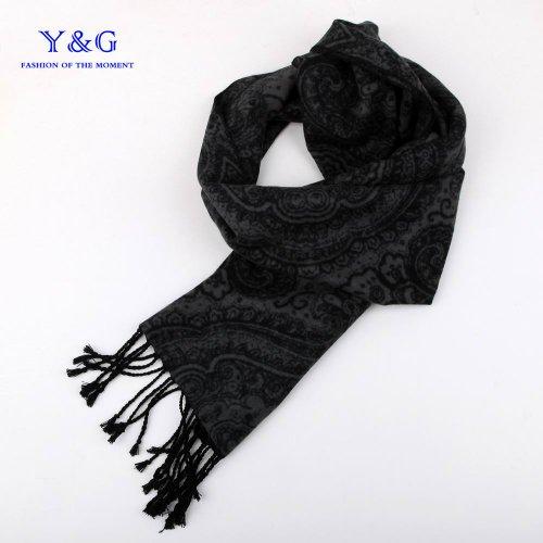 Black,Grey paisley fashion mens scarf Y&G 100% Silk Jacquard Woven Scarf SC1002