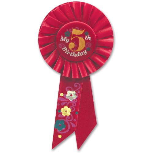 Beistle RS055R My 5th Birthday Rosette, 3-1/4-Inch by 6-1/2-Inch