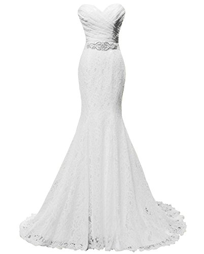 Solovedress Women's Lace Wedding Dress Mermaid Evening Dress Bridal Gown with Sash (Us 4,white)
