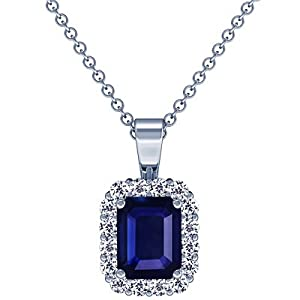 18K White Gold Emerald Cut Blue Sapphire And Round Diamond Pendant