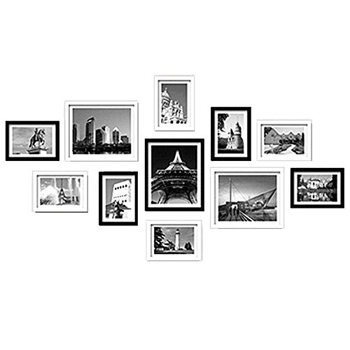 WOOD MEETS COLOR Wall Frames, A combination of 11 Picture Frames Including White Picture Mats and Installation Instruction, ESSENTIAL for every home (Black & White)