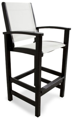 Polywood 9012 Bl901 Coastal Bar Chair Black White Sling Furniture Chairs Arm Chairs Recliners