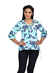 lol blue Color Floral Print Casual Top for women