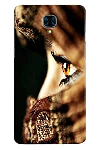 Omnam Girl Eyes In Closeup Printed Designer Back Cover Case For OnePlus Three