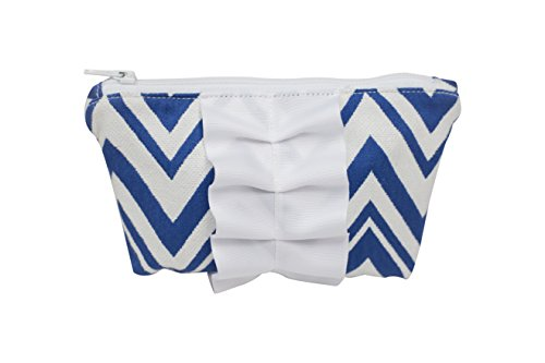 Caught Ya Lookin' Mother's Cosmetic Bag, Royal Chevron with White Trim