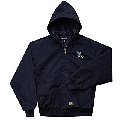 NFL Tennessee Titans Cumberland Canvas Quilt Lined Hooded Jacket, Navy, 5X