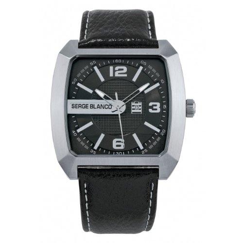 Serge Blanco SB5955-1 - Orologio da polso, pelle, colore: nero