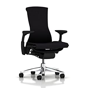 Embody Chair by Herman Miller - Aluminum Home Office Desk Task Chair with Adjustable Arms Aluminum Base Graphite Frame with Rhythm Black Fabric