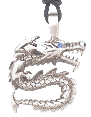 Blue Crystal Eye Dragon Pewter Pendant Necklace