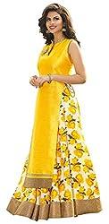 vaankosh fashion women Yellow & White Banglori Silk Printed Exclusive Partywear Collection Bollywood Style Designer Lehenga