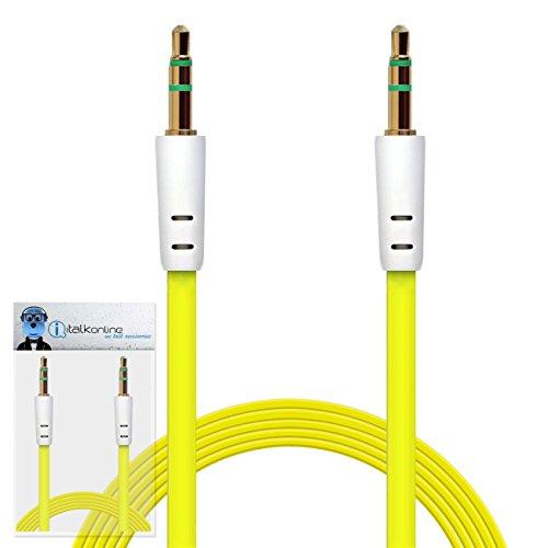 iTALKonline Samsung Galaxy Tab 2 7.0 P3110 Gelb FLACH 3,5 mm Vergoldete Jack an Jack Männlich AUX Hilfs Stereo-Klinke Anschlusskabel Anschlussdraht
