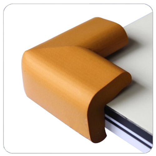Beyondfashion 4 x Baby Corner Edge Cushions Desk Table Cover Protector Child Safety Guard - Light Brown