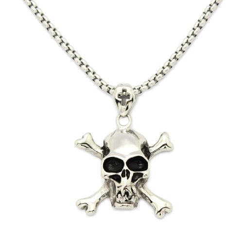 2 PIECE SET: 19-Inch Stainless Steel Rolo Chain Necklace With Skull & Cross Bones Pendant (LIFETIME WARRANTY)