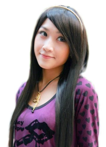 Long Student Style Straight Healthy Wig (Model: Jf010327) (Black)
