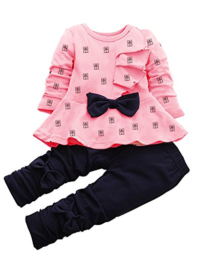 LaLaMa Baby Girl Cute 2 Piece Outfit Children Clothes Bowknot Top and Pants Set (1-2 Years, Pink 1)