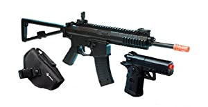 Spring Crosman Defender Elite Rifle FPS-350 and Spring Pistol FPS-200 Black Airsoft Gun