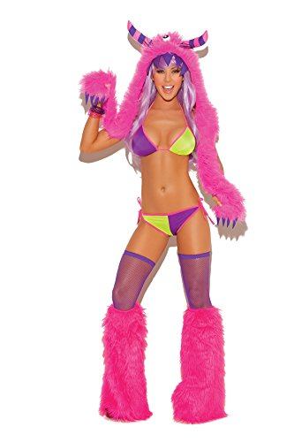 Sexy Women's Furry Monster Hood Halloween Role Play Clubwear Accessory