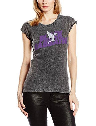 Black Sabbath Logo & Daemon Acid Wash-T-shirt  Donna    Grigio (Charcoal) Medium