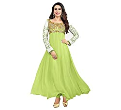 Light Green Georgette Embroidered Semi Stitched Salwar Suit