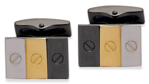 Code Red Base Metal Rhodium Plated Cufflinks With Gunmetal And Gold Colour