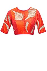 KMOZI ORANGE EMBRIODERED ROUND-NECK BLOUSE MATERIAL