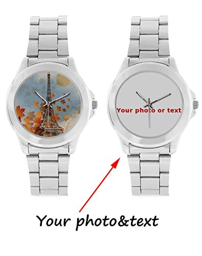 InterestPrint Personalized Custom Gift Unisex Stainless Steel Casual Wrist Watch with Your Photo or Text (Custom Photo Watch compare prices)