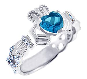 18K White Gold 0.40 Ct. Diamond Claddagh Ring with Blue Topaz