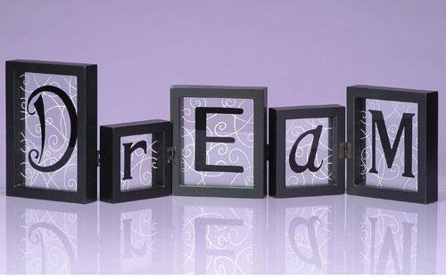 StealStreet SS-UG-NAA-611 Hinged Shadowbox Word Block Display Stand, Dream