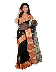 Black Traditional Bengali Banarasi Style Tant Saree With Elegant Orange Border With Zari Weaved Motifs In Golden...