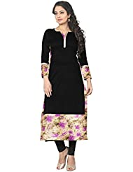 Ziyaa Black Colored Full Sleeve And Keyhole Neck Faux Crepe Kurti