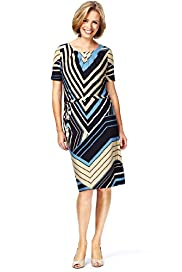 Classic Collection Chevron Striped Belted Dress