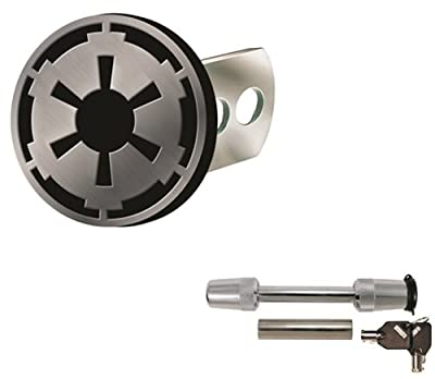 Star Wars Galactic Empire Logo Solid Metal Brushed Chrome Hitch Plug Receiver Cover & Universal Receiver Hitch Pin Lock