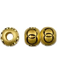 Cousin Gold Elegance 14K Gold Plate Carved Bead No.2, 4-Piece