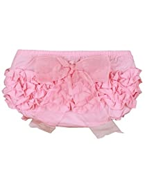 RuffleButts® Infant / Toddler Girls Ruffled Bloomer w/ Bow - Pink w/Pink Bow - 3-6m