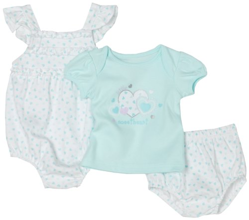 Babyworks Baby-girls Newborn 3 Piece Aqua Romper Diaper Set, Blue, 0-3 Months