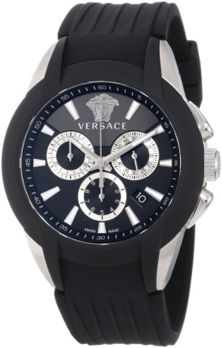 Versace Men's M8C99D008 S009 Character Stainless Steel Black Rubber Chronograph Date Watch