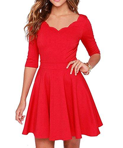 Tengo Women Summer Slim Flared Tunic Soft Thin Dress (XS, Red)