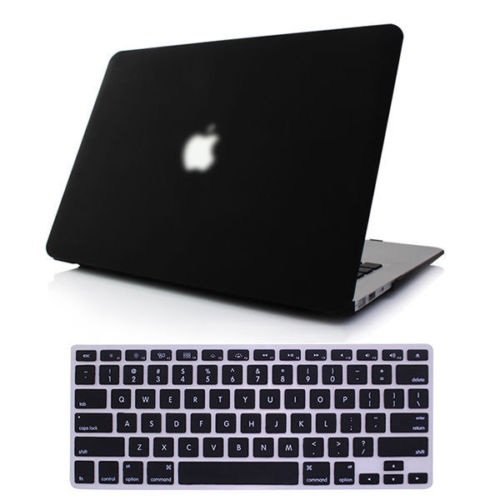 [New Release] Icrown(Tm) 2014 New Arrival Robin Egg Blue Matte Rubber Coated See Through Hard Shell Skin Case Cover For Aluminum Unibody 13.3 Inches Macbook Pro With Silicon Keyboard Protector(Us Keyboard Layout) (Z.Black+Keyboard Protector)