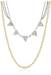 """Steve Madden Crystal Triangle 2 Row Long Necklace, 32"""""""