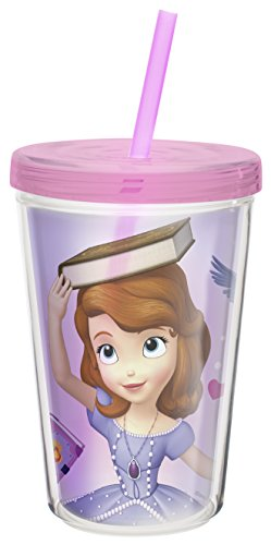 Zak! Designs Insulated Tumbler with Screw-on Lid and Straw featuring Sofia the First, Break-resistant and BPA-free Plastic, 13 oz.