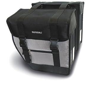 Basil Tour XL Double Bicycle Bag (Black/Silver)